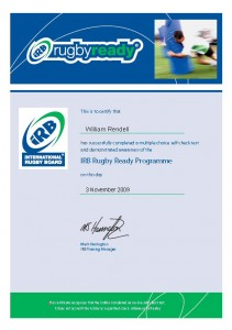 Rugby Ready Certificate